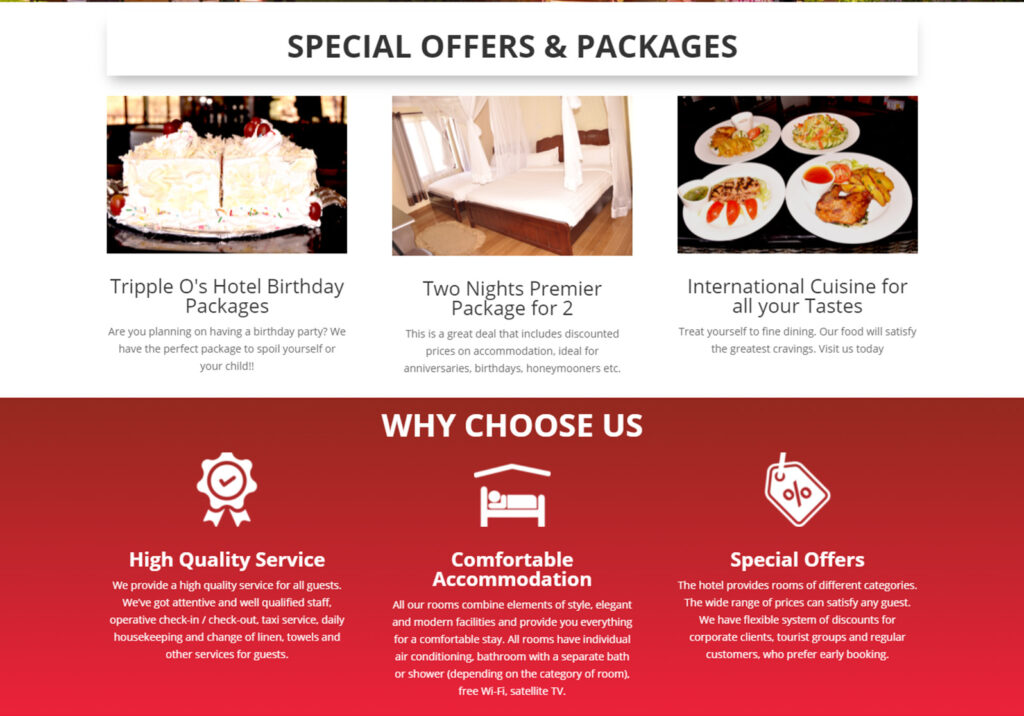 Website Design in Kenya for Tripple O's Hotel